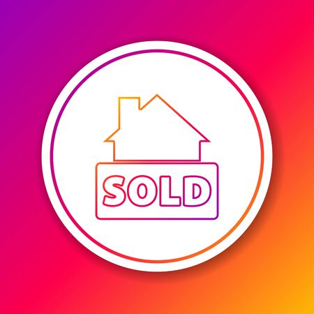 Color line Hanging sign with text Sold icon isolated on color background. Sold sticker. Sold signboard. Circle white button. Vector