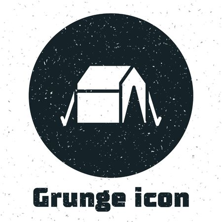 Grunge Tourist tent icon isolated on white background. Camping symbol. Monochrome vintage drawing. Vector Vectores
