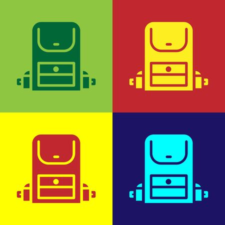 Pop art Hiking backpack icon isolated on color background. Camping and mountain exploring backpack. Vector Иллюстрация