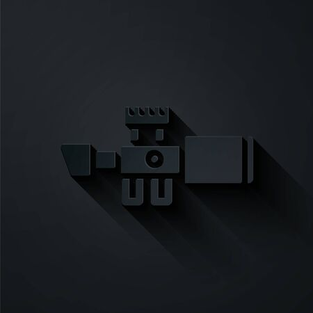 Paper cut Sniper optical sight icon isolated on black background. Sniper scope crosshairs. Paper art style. Vector