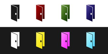 Set Closed door icon isolated on black and white background. Vector Illustration