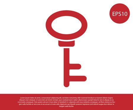 Red House key icon isolated on white background. Vector