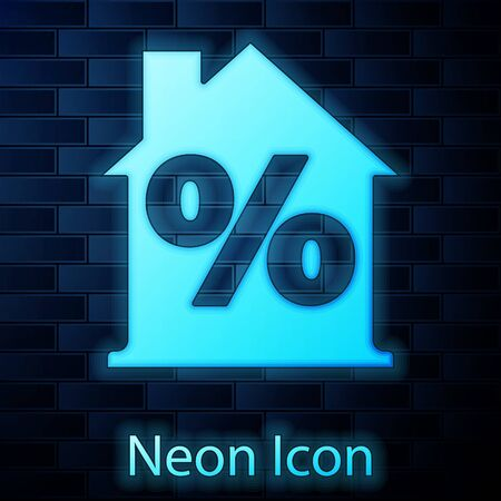 Glowing neon House with percant discount tag icon isolated on brick wall background. Real estate home. Credit percentage symbol. Vector Illustration