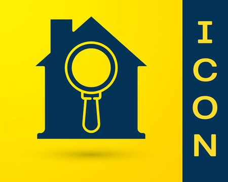 Blue Search house icon isolated on yellow background. Real estate symbol of a house under magnifying glass. Vector