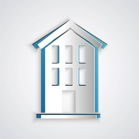 Paper cut House icon isolated on grey background. Home symbol. Paper art style. Vector. Ilustracja