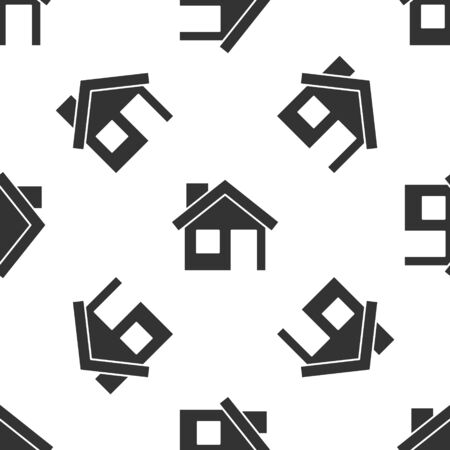 Grey House icon isolated seamless pattern on white background. Home symbol. Vector