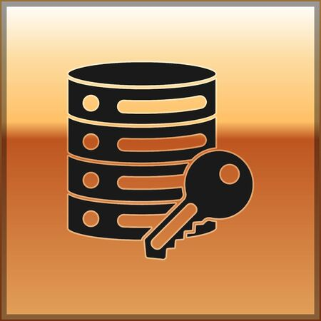 Black Server security with key icon isolated on gold background. Security, safety, protection concept.  Vector.