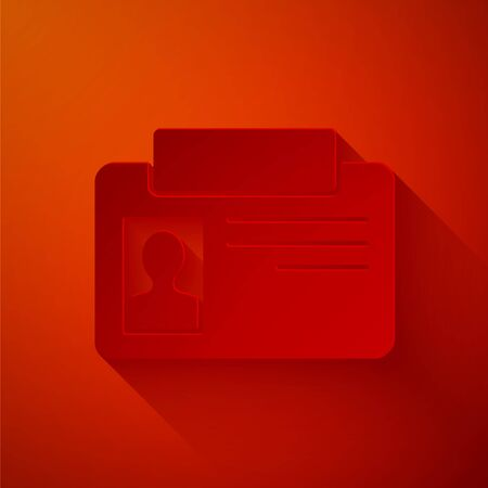 Paper cut Identification badge icon isolated on red background. It can be used for presentation, identity of the company, advertising. Paper art style. Vector