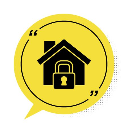 Black House under protection icon isolated on white background. Home and lock. Protection, safety, security, protect, defense concept. Yellow speech bubble symbol. Vector Illustration