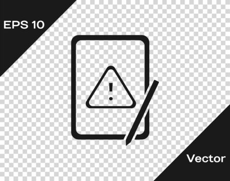Black Graphic tablet with exclamation mark icon isolated on transparent background. Alert message smartphone notification. Vector. Foto de archivo - 150289430