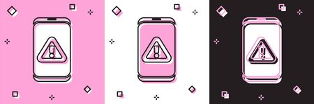 Set Mobile phone with exclamation mark icon isolated on pink and white, black background. Alert message smartphone notification. Vector Foto de archivo - 150292311