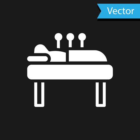 White Acupuncture therapy icon isolated on black background. Chinese medicine. Holistic pain management treatments.  Vector.