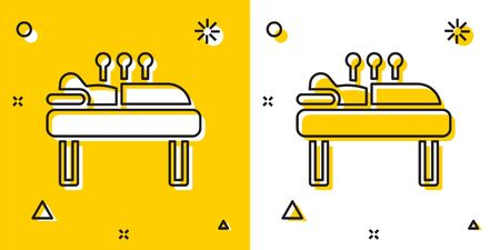 Black Acupuncture therapy icon isolated on yellow and white background. Chinese medicine. Holistic pain management treatments. Random dynamic shapes. Vector.