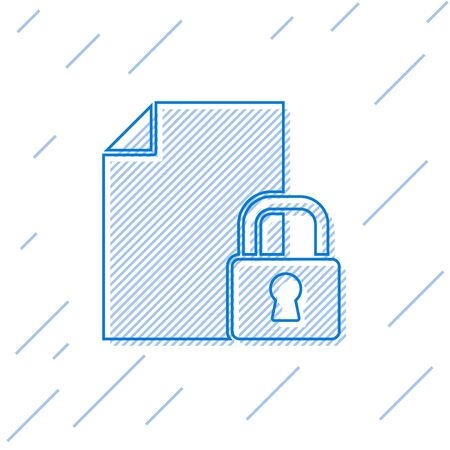 Blue line Document and lock icon isolated on white background. File format and padlock. Security, safety, protection concept. Vector. Ilustração