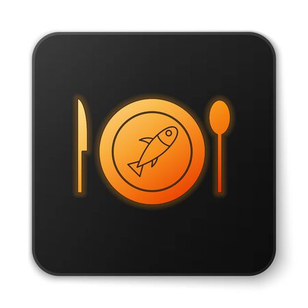 Orange glowing neon Served fish on a plate icon isolated on white background. Black square button. Vector. Stock Vector - 150291982