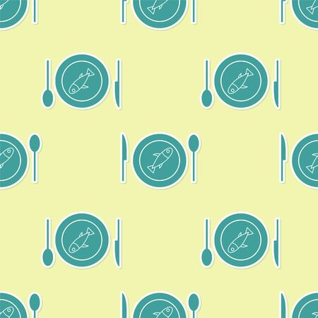 Green Served fish on a plate icon isolated seamless pattern on yellow background. Vector. 向量圖像
