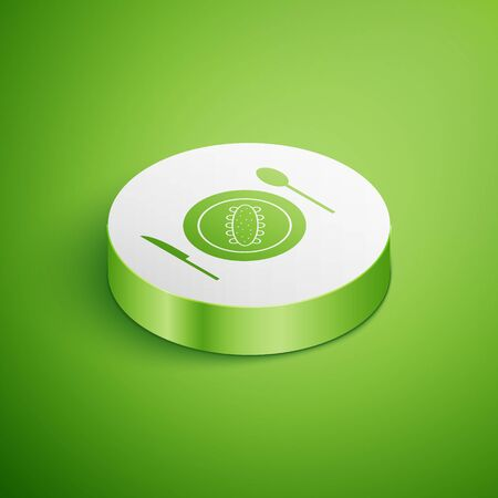 Isometric Served cucumber on a plate icon isolated on green background. Marine food. White circle button. Vector.