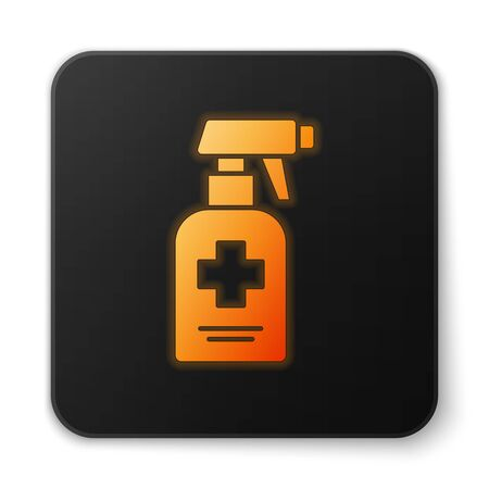 Orange glowing neon Bottle of liquid antibacterial soap with dispenser icon isolated on white background. Antiseptic. Disinfection, hygiene, skin care. Black square button. Vector.. Stock Vector - 150289128