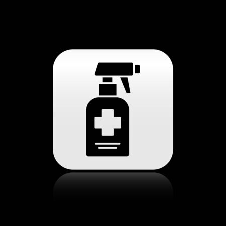 Black Bottle of liquid antibacterial soap with dispenser icon isolated on black background. Antiseptic. Disinfection, hygiene, skin care. Silver square button. Vector..