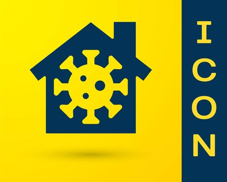 Blue Stay home icon isolated on yellow background. Corona virus 2019-nCoV. Vector.
