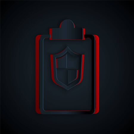 Paper cut Document with shield icon isolated on black background. Insurance concept. Security, safety, protection, protect concept. Paper art style. Vector.  イラスト・ベクター素材