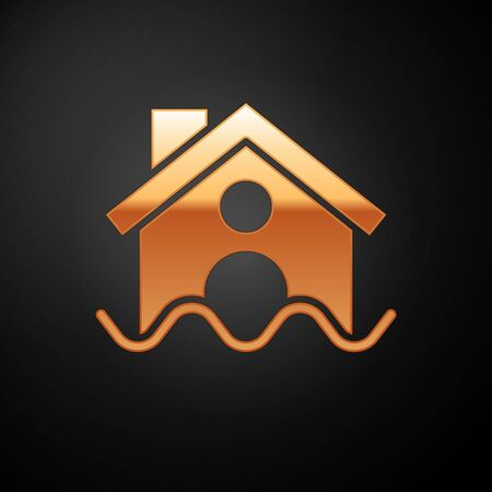 Gold House flood icon isolated on black background. Home flooding under water. Insurance concept. Security, safety, protection, protect concept..