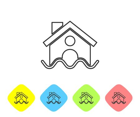 Grey line House flood icon isolated on white background. Home flooding under water. Insurance concept. Security, safety, protection, protect concept..