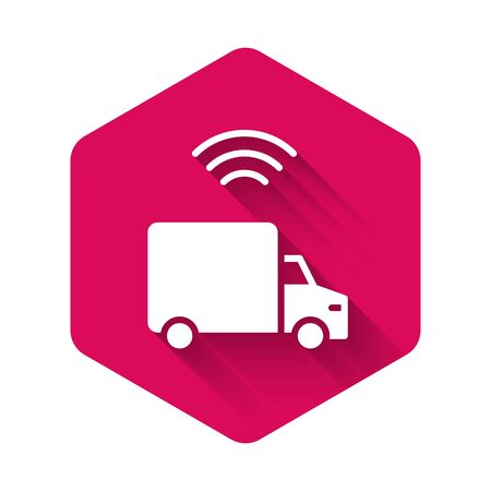 White Smart delivery cargo truck vehicle with wireless connection icon isolated with long shadow. Pink hexagon button. Vector