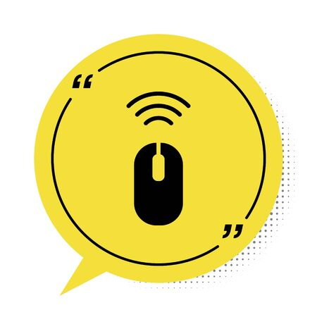 Black Wireless computer mouse system icon isolated on white background. Internet of things concept with wireless connection. Yellow speech bubble symbol. Vector