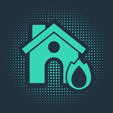 Green Fire in burning house icon isolated on blue background. Insurance concept. Security, safety, protection, protect concept. Abstract circle random dots. Vector.