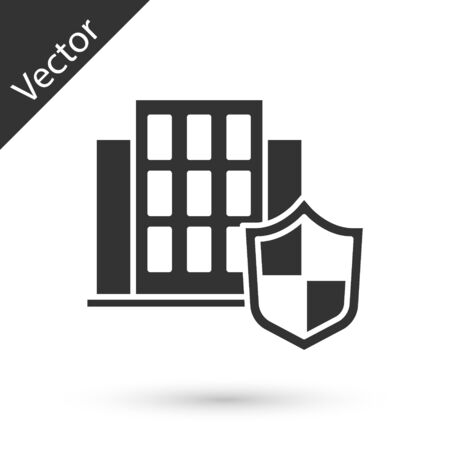 Grey House with shield icon isolated on white background. Insurance concept. Security, safety, protection, protect concept. Vector.