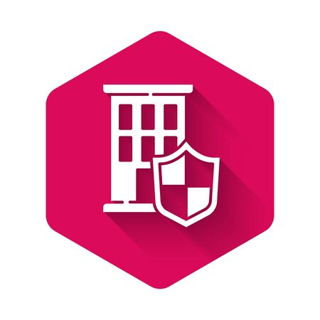 White House with shield icon isolated with long shadow. Insurance concept. Security, safety, protection, protect concept. Pink hexagon button. Vector.