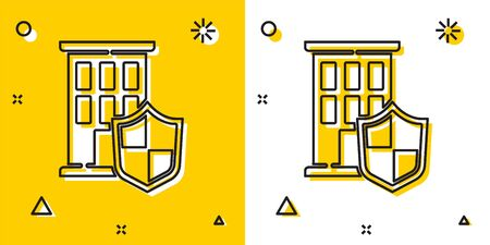 Black House with shield icon isolated on yellow and white background. Insurance concept. Security, safety, protection, protect concept. Random dynamic shapes. Vector.