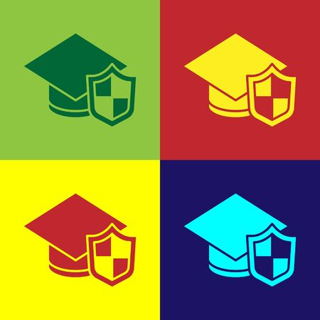 Pop art Graduation cap with shield icon isolated on color background. Insurance concept. Security, safety, protection, protect concept. Vector. Foto de archivo - 150291543