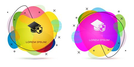 Color Graduation cap with shield icon isolated on white background. Insurance concept. Security, safety, protection, protect concept. Abstract banner with liquid shapes. Vector. Foto de archivo - 150291541