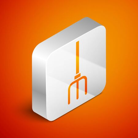 Isometric Garden pitchfork icon isolated on orange background. Garden fork sign. Tool for horticulture, agriculture, farming. Silver square button. Vector