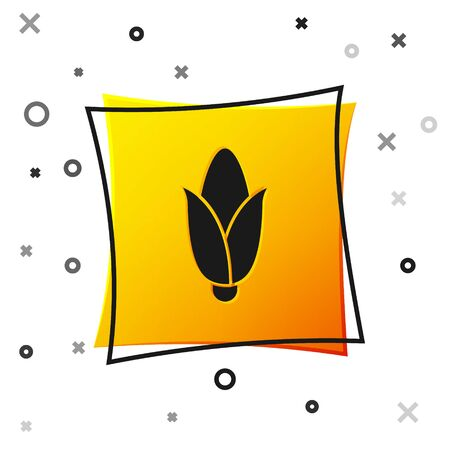Black Corn icon isolated on white background. Yellow square button. Vector