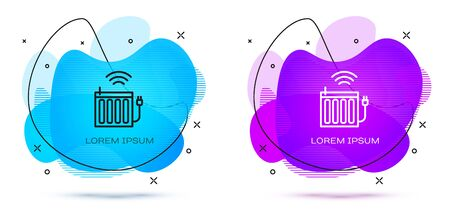 Line Smart heating radiator system icon isolated on white background. Internet of things concept with wireless connection. Abstract banner with liquid shapes. Vector