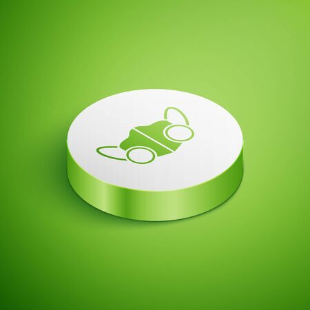 Isometric Medical protective mask icon isolated on green background. White circle button. Vector.