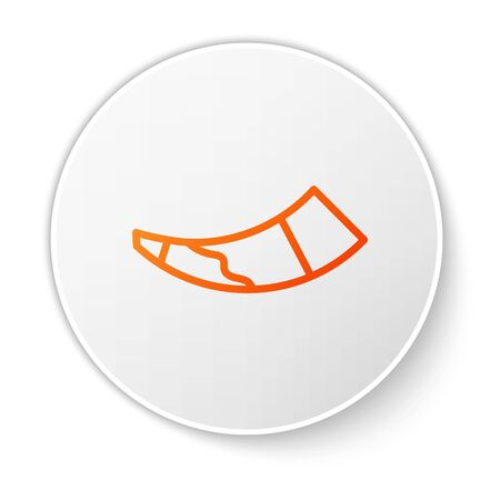 Orange line Hunting horn icon isolated on white background. White circle button. Vector. Vettoriali