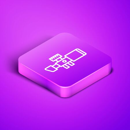 Isometric line Sniper optical sight icon isolated on purple background. Sniper scope crosshairs. Purple square button. Vector