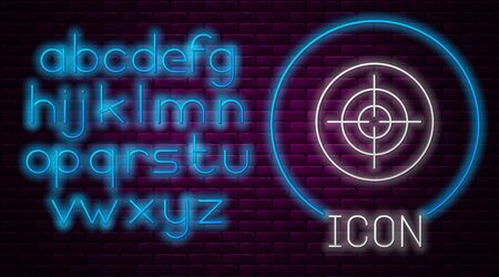Glowing neon line Target sport icon isolated on brick wall background. Clean target with numbers for shooting range or shooting. Neon light alphabet. Vector Illusztráció