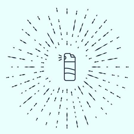 Black line Pepper spray icon isolated on grey background. OC gas. Capsicum self defense aerosol. Abstract circle random dots. Vector