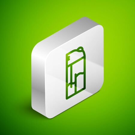 Isometric line Lighter icon isolated on green background. Silver square button. Vector