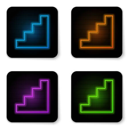 Glowing neon Staircase icon isolated on white background. Black square button. Vector