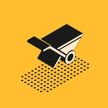 Isometric Wheelbarrow icon isolated on yellow background. Tool equipment. Agriculture cart wheel farm. Vector Banco de Imagens - 150290958
