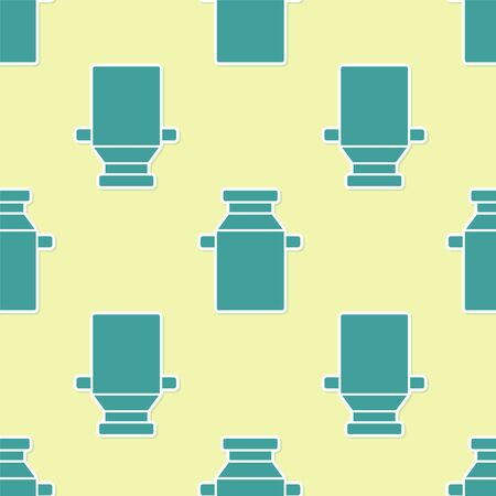 Green Can container for milk icon isolated seamless pattern on yellow background. Vector.
