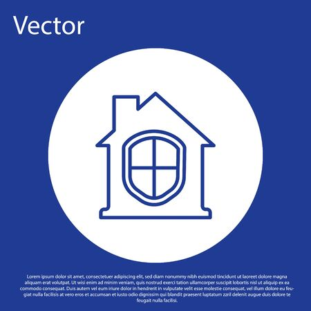 Blue line House under protection icon isolated on blue background. Home and shield. Protection, safety, security, protect, defense concept. White circle button. Vector.