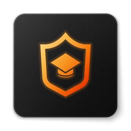 Orange glowing neon Graduation cap with shield icon isolated on white background. Insurance concept. Security, safety, protection, protect concept. Black square button. Vector. Standard-Bild - 150290458