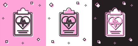 Set Health insurance icon isolated on pink and white, black background. Patient protection. Security, safety, protection, protect concept. Vector.